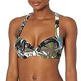 Calvin Klein Damen Molded Cup Pleated Bra Top Bikini, Olive Multi, Medium