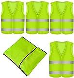 Prowiste 4 Stück Warnweste Neon Gelb - Waschbar - 360 Grad Reflektierende Sicherheitsweste KFZ...