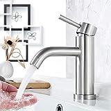 Faulkatze Waschtischarmatur Edelstahl Wasserhahn Bad Waschbecken Armatur Einhand-Waschtischbatterie...