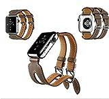 OIUYT Echtes Leder Doppelschnallen Manschettenband 38/40 42 / 44mm Armband Lederband Band Uhr (Band...