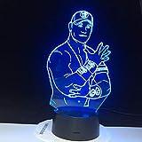John Cena Sport Wrestler Promi 3D Led Nachtlicht Farben wechselnden Nachtlicht für Office Room...