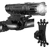 Fahrradlicht, hell, wiederaufladbar, Fahrradscheinwerfer (mit Handyhalterung)