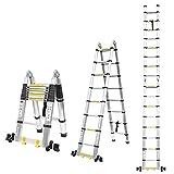 FIXKIT 5M Alu Teleskopleiter Klappleiter, ausziehbare Leiter Teleskop-Design mit 2 Rollen 150 kg...