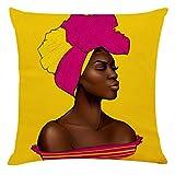 Xniral Kissenbezug Unisex Afrikanerin Drucken Kissenhüllen Quadrat Pillowcase Kopfkissenbezug...