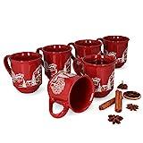 MamboCat 6er Set Glühweinbecher 0,2L rot Weihnachtslandschaft | Klassische Porzellan...