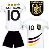DE FANSHOP Deutschland Trikot mit Hose & GRATIS Wunschname + Nummer #D4 2021/2022 EM/WM Weiss -...