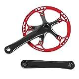 Ever Single Speed Kurbelgarnitur, 2-farbige Fahrradkurbelgarnitur 170mm Fahrradkettenrad...