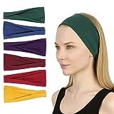 Sea Team 6er Pack Sport Workout Stirnbänder Weiche elastische Yoga Running Fitness Haarbänder für...
