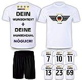 DE FANSHOP Deutschland Trikot mit Hose 2021 & GRATIS Wunschname + Nummer EM WM Weiß #DE2 - Geschenk...