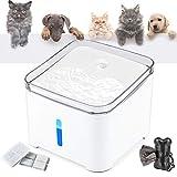 Makife Katzen Trinkbrunnen, 2L Wasserspender für Hunde mit LED-Licht automatischer Haustier...