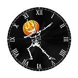Leeypltm Modern Quartz Wanduhr,10 Zoll Skelett Kürbis Halloween Moderne Mute Wanduhr,hohe...