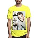 Herren-T-Shirts, 100% Baumwolle, Unisex, Wei/Schwarz/Gelb/Rot Gr. XL, gelb