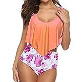 Bikini Set für Damen Große Größen Rüschen Geteilter Badeanzug High Waist Floral Bademode Two...