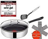 Tefal H80533 Jamie Oliver Edelstahl Schmorpfanne Sautepfanne 25cm+ Glasdeckel, Induktion Pfanne mit...