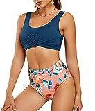 Foshow Damen-Bikini-Set mit Riemchen, hohe Taille, gerüscht, 2-teilig, vorn verdreht, Badehose -...