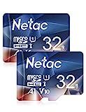 Netac 2er-Pack 32G Speicherkarte,Micro SD Karte(A1, U1, C10, V10, FHD, 600X), TF Memory Card UHS-I...