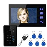 XJJY Touch-Taste 7'LCD-Kennwort-Video-Door Phone-Intercom-System KITWILOELSWITHWITH Remote CONTROLLE...