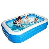 Bilisder Aufblasbarer Pool, 305 x 185 x 60cm Großer Luxus Family Pool, Schwimmbecken Rechteckig...