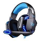 EasySMX bequem LED 3,5 mm Stereo Gaming LED Beleuchtung Over-Ear Kopfhörer Headset Stirnband mit...