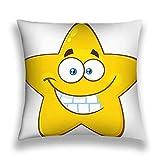N\A Dekor Kissen Kissenbezug, dekorative quadratische Akzent Kissenbezug, lustige gelbe Stern...