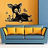 Tianpengyuanshuai Baby Fawn Wandaufkleber Cartoon Tier Schmetterling Natürliche Heimdekoration...