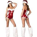 Rubyu-123 Packung Mit 3 Damen Weihnachtsmann Kostüm, Sexy Weihnachtskleid Mit Hut Und Beinstulpen,...
