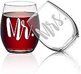 Lighsele Rotweingläser mit Gravur 'Mr' und 'Mrs' Set 2 tlg 15 oz | Trinkgläser ohne Stiel,...