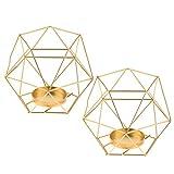 YZCKW 2Pcs 3D Geometric Christmas Candlestick Votivkerze Teelichthalter Gold Dekoration Kerzenhalter