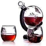 Whiskey Globe Decanter-Set mit 2 geätzte Globe Whiskygläser & Shots Gläser - Whiskey Decanter for...