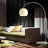 CCLIFE LED E27 Bogenlampe hhenverstellbar Marmorfu wei orange Stehlampe Stehleuchte Standleuchte...
