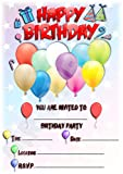 Einladungskarten für Kindergeburtstag mit Luftballon, Hochformat, Partyzubehör, 12 Stück WITHOUT...