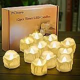 LED Kerzen mit Timer, PChero 12 Stück LED Elektrische Teelichter Flackernde Kerze Beleuchtung mit...