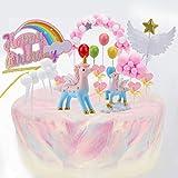 EKKONG Tortendeko, Einhorn Tortendeko Tortendeko Geburtstag Kuchen Topper Pony Tortendeko 9er Set...
