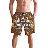 AMONKA Herren Badehose Weihnachten und Happy New Year Background Quick Dry Beach Board Short Casual...