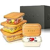 KIVY® Glas Frischhaltedosen [4er Set] – Premium Glasbehälter mit Deckel aus nachhaltigem Bambus...