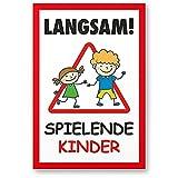 Komma Security Langsam Spielende Kinder 20 x 30 cm Hinweisschild Warnzeichen Warnschild langsam...