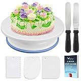 WisFox Tortenplatte drehbar Tortenständer Kuchen Drehteller Cake Decorating Turntable mit 2 Stück...