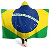 Lawenp Hooded Blanket Flag von Brazil Blanket Hoodie Tragbarer superweicher Anti-Pilling Flanell...