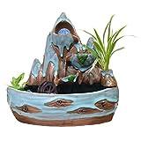 Zunruishop Indoor-Bonsai Indoor Keramik Berg Stein-Brunnen 3 Ebene Wasserfall rotierende Kugel...