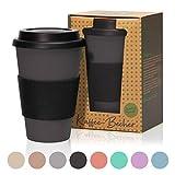 bambuswald© 450ml ökologischer Kaffeebecher to Go mit Silikondeckel   wiederverwendbarer &...