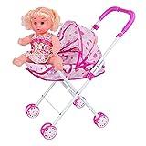 QUNHU Kinderwagen, Baby Walker mit Puppe, Aktivität Walker für Kinder über 3 Jahre alt,...