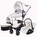 YUMO Travel System Kinderwagen & Luxuskinderwagen 3 in 1 Komplett,Weiß