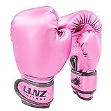 Luniquz Boxhandschuhe für Kinder Boxsack Sparring Fit Jungen Mädchen (4OZ, Rosenrot)