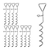 Relaxdays 12 x Spiralhering, Erdanker für Zelte & Trampoline, Stahl, Anlegepflock für Hunde,...