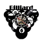 TYFEI 1 Stück Billardkugel Pool Design Vinyl Schallplatte Wanduhr Snooker Vinyluhr Vinyl Wandkunst...