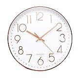 Jeteven® 30cm Rund Wanduhr Kinderuhr mit geräuscharmem Uhrwerk mit schleichender Sekunde groß...