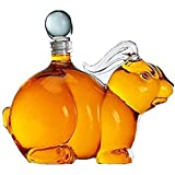 QJIAXING Kaninchen Dekanter, 1000ML Whisky Dekanter, Transparente Kreative Zodiac Rabbit Seal...