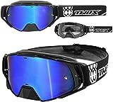 TWO-X Rocket Crossbrille schwarz Glas verspiegelt blau MX Brille Nasenschutz Motocross Enduro...