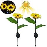 Bestine Solar-Licht für den Außenbereich, Gartenspieß, Sonnenblume, Packung mit 2 dekorativen...