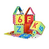 Relaxdays Spielmatte Puzzle 86 tlg, Puzzlematte Buchstaben u. Zahlen, EVA Schaumstoff Spielteppich...